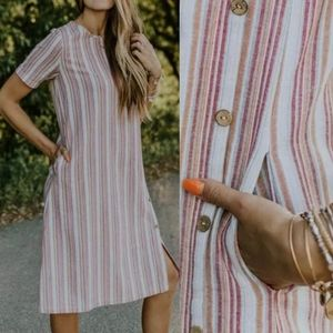 Roolee Striped Cotton Linine Dress w/ Pockets